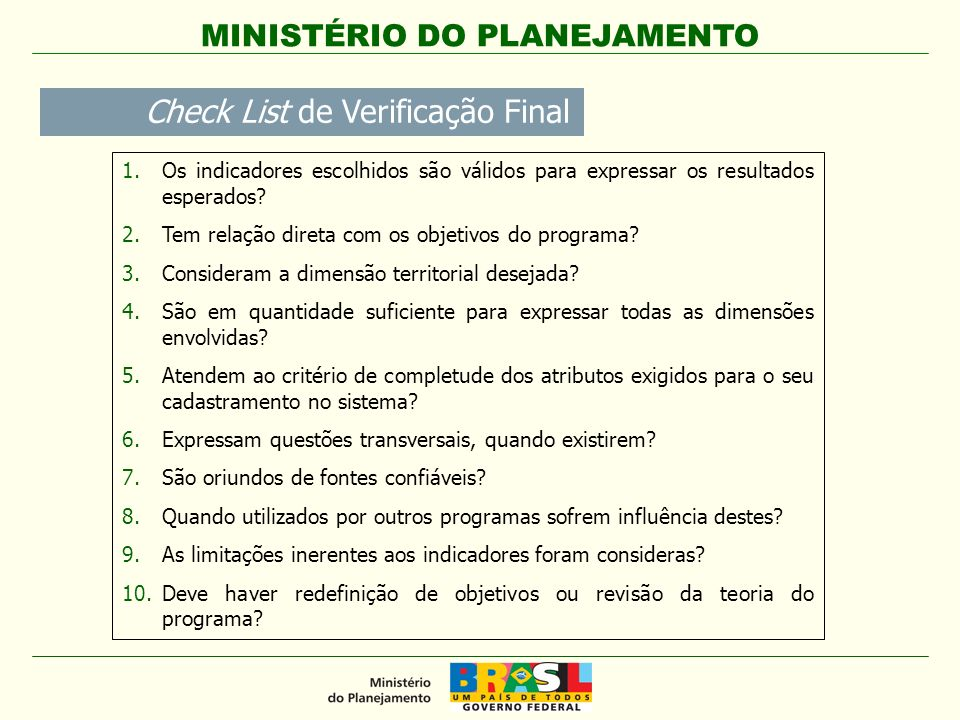Check List de Verificação Final