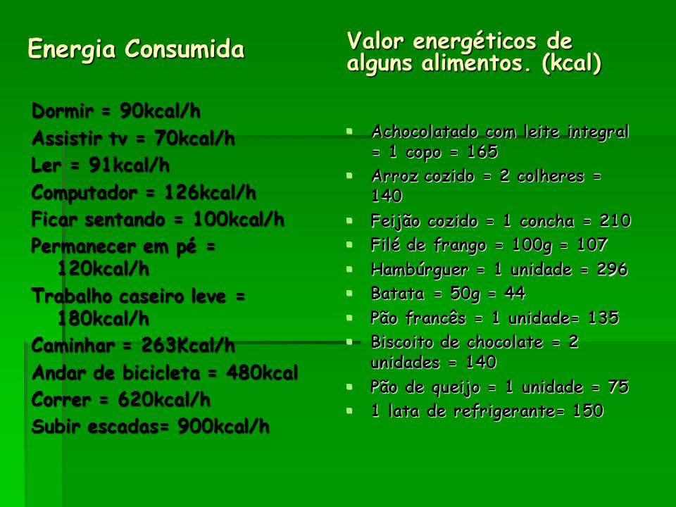 Energia Consumida Valor energéticos de alguns alimentos. (kcal)
