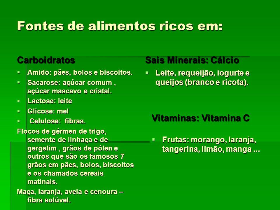 Fontes de alimentos ricos em: