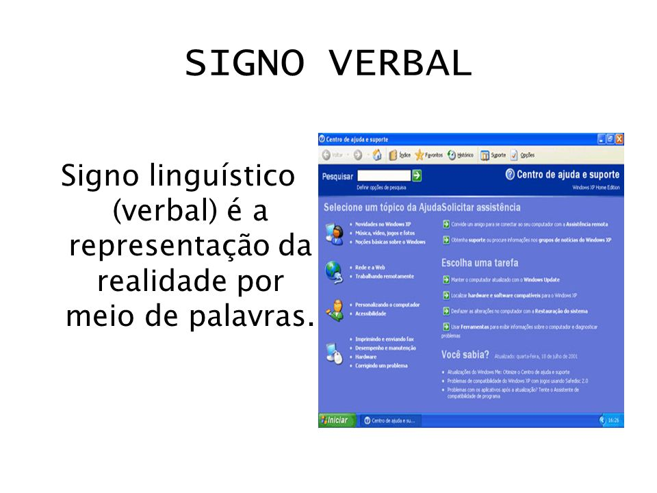 SIGNO VERBAL Signo linguístico (verbal) é a representação da realidade por meio de palavras.