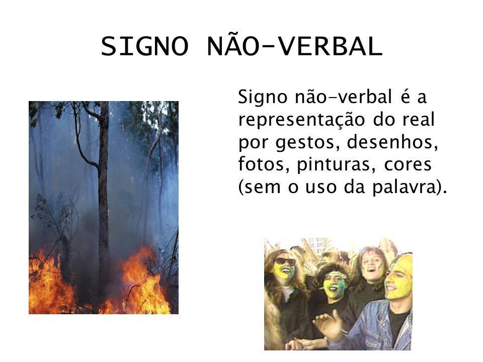 SIGNO NÃO-VERBALSigno não-verbal é a representação do real por gestos, desenhos, fotos, pinturas, cores (sem o uso da palavra).