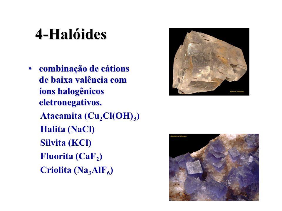 4-Halóidescombinação de cátions de baixa valência com íons halogênicos eletronegativos. Atacamita (Cu2Cl(OH)3)
