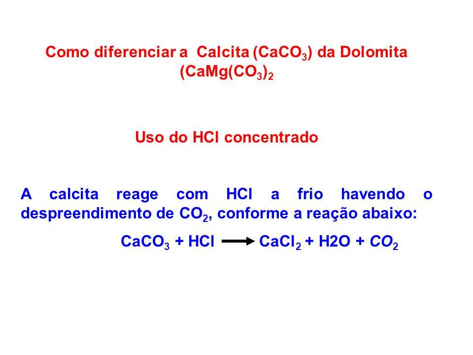 Como diferenciar a Calcita (CaCO3) da Dolomita (CaMg(CO3)2