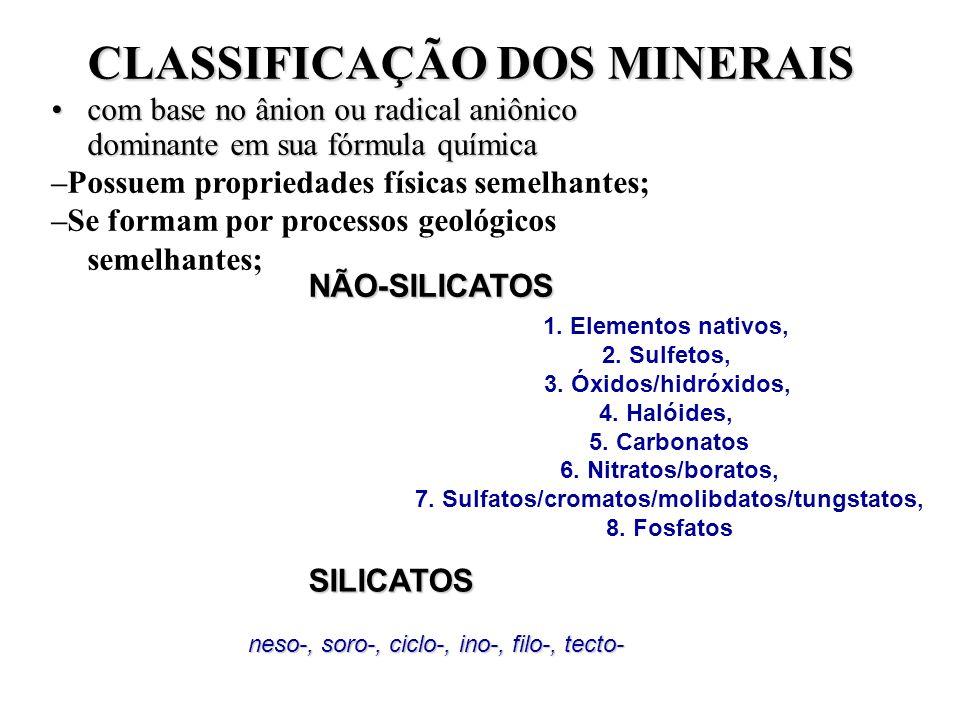 CLASSIFICAÇÃO DOS MINERAIS 7. Sulfatos/cromatos/molibdatos/tungstatos,