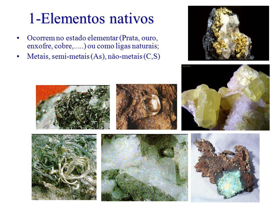 1-Elementos nativos Ocorrem no estado elementar (Prata, ouro, enxofre, cobre,.....) ou como ligas naturais;