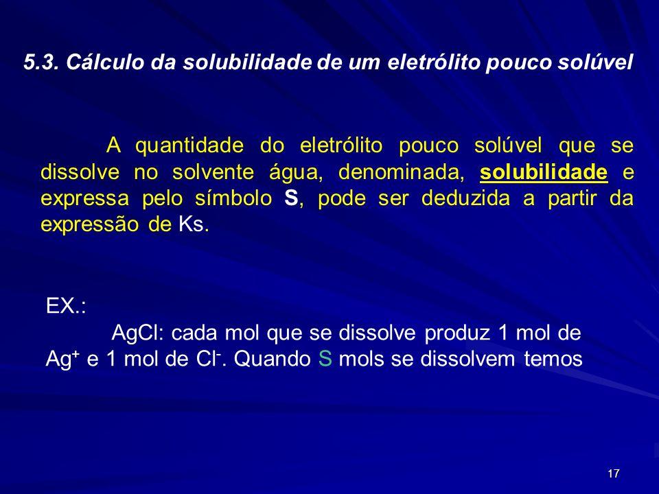 5.3. Cálculo da solubilidade de um eletrólito pouco solúvel