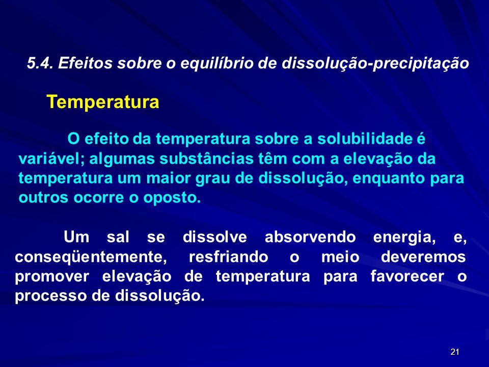 Temperatura 5.4. Efeitos sobre o equilíbrio de dissolução-precipitação