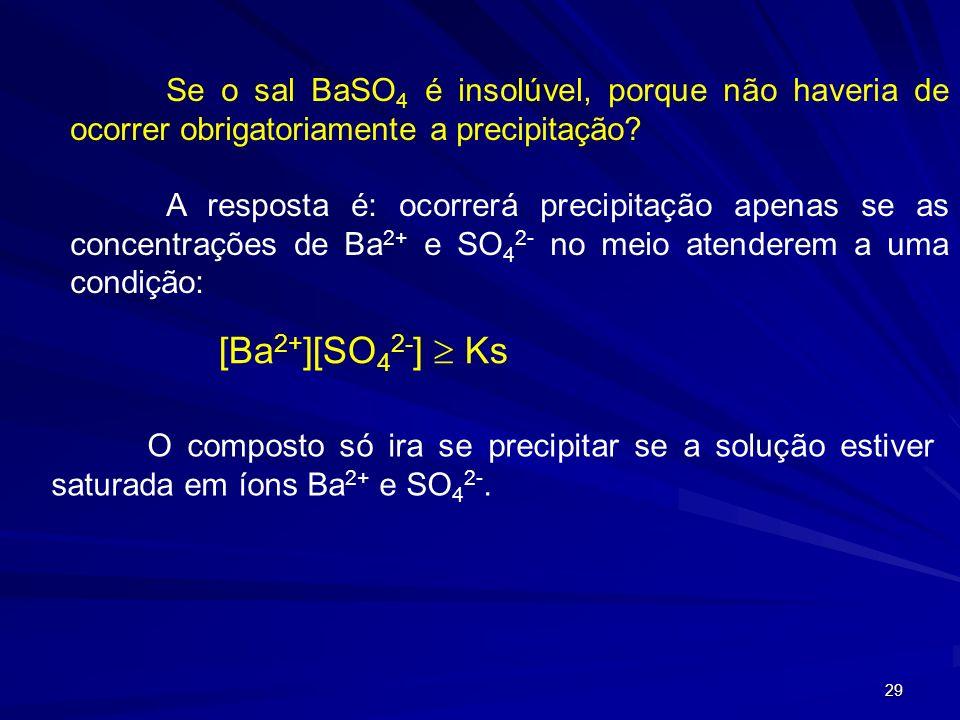 Se o sal BaSO4 é insolúvel, porque não haveria de ocorrer obrigatoriamente a precipitação