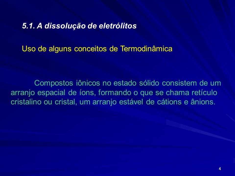 5.1. A dissolução de eletrólitos
