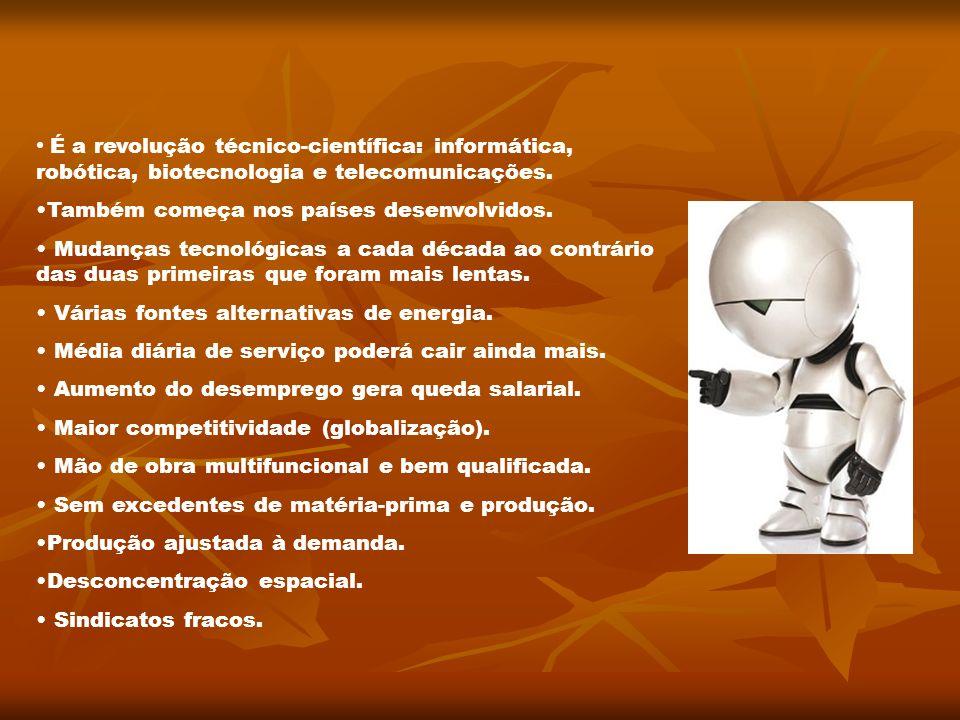 É a revolução técnico-científica: informática, robótica, biotecnologia e telecomunicações.