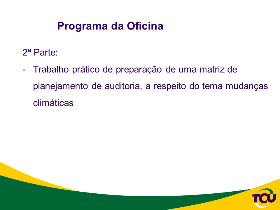 Programa da Oficina 2ª Parte: