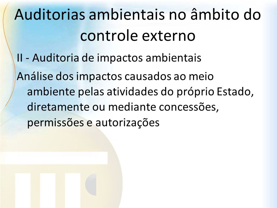 Auditorias ambientais no âmbito do controle externo