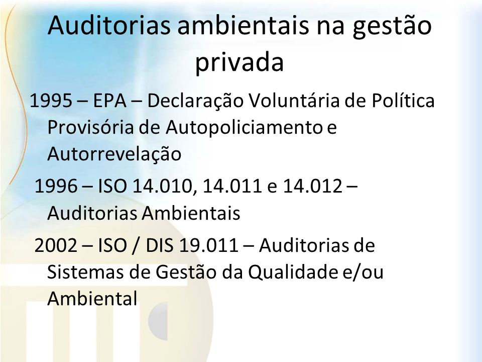 Auditorias ambientais na gestão privada