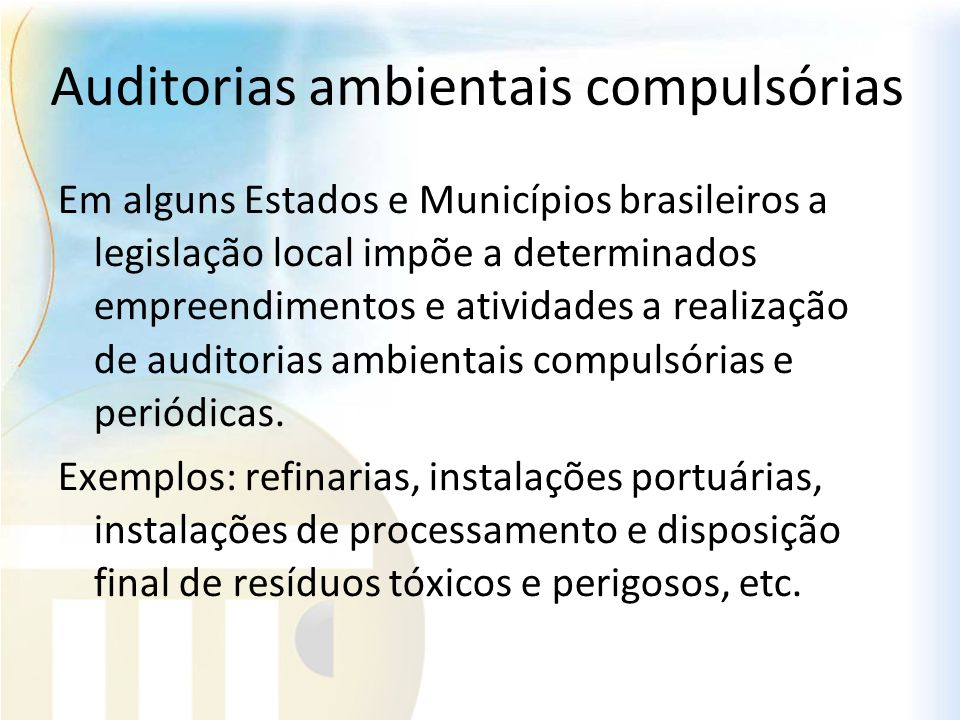 Auditorias ambientais compulsórias