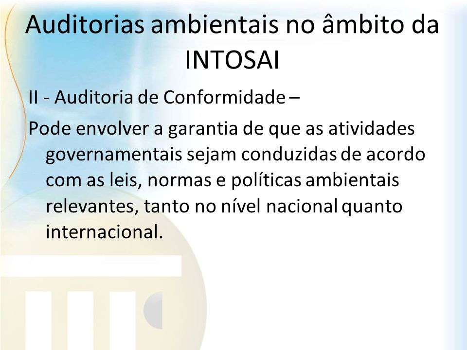 Auditorias ambientais no âmbito da INTOSAI