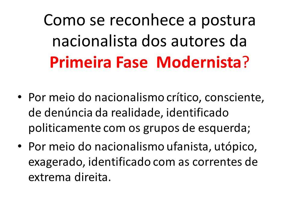 Como se reconhece a postura nacionalista dos autores da Primeira Fase Modernista