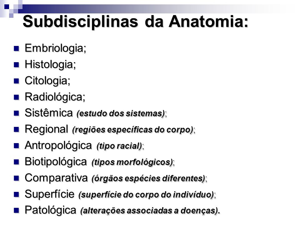 Subdisciplinas da Anatomia: