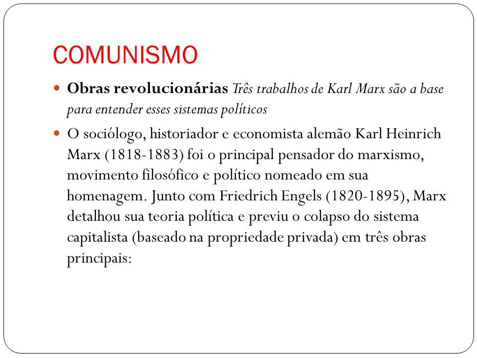 COMUNISMO Obras revolucionárias Três trabalhos de Karl Marx são a base para entender esses sistemas políticos.