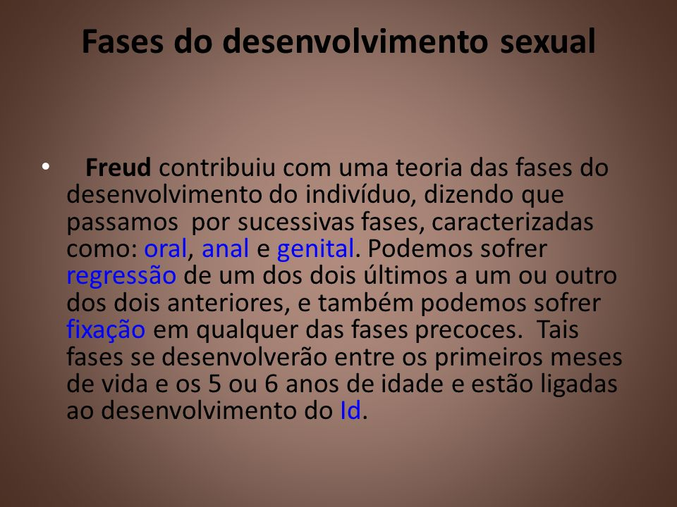 Fases do desenvolvimento sexual