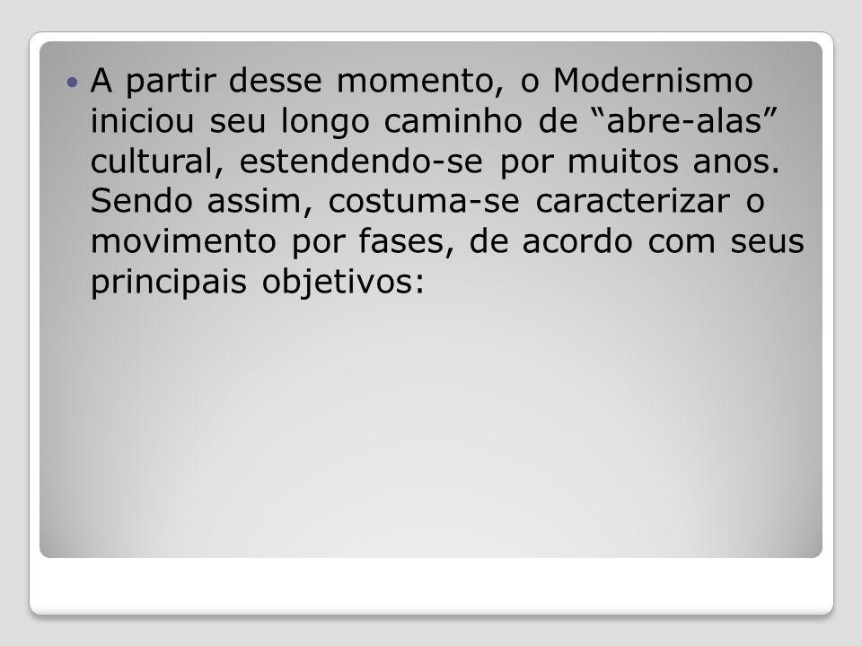 A partir desse momento, o Modernismo iniciou seu longo caminho de abre-alas cultural, estendendo-se por muitos anos.