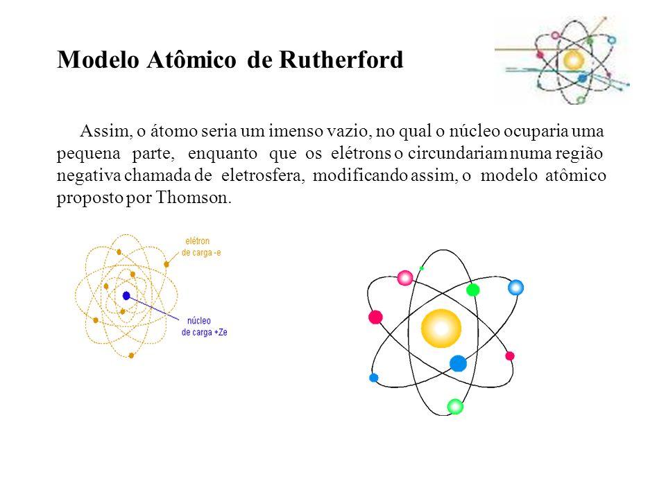 Modelo Atômico de Rutherford Assim, o átomo seria um imenso vazio, no qual o núcleo ocuparia uma pequena parte, enquanto que os elétrons o circundariam numa região negativa chamada de eletrosfera, modificando assim, o modelo atômico proposto por Thomson.