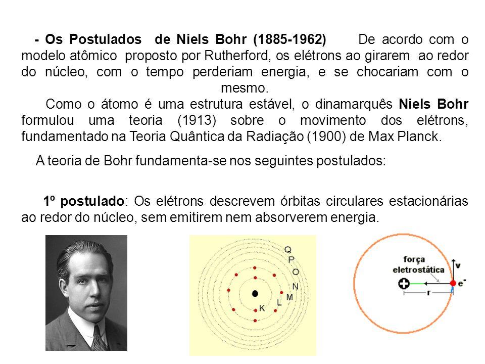 - Os Postulados de Niels Bohr (1885-1962) De acordo com o modelo atômico proposto por Rutherford, os elétrons ao girarem ao redor do núcleo, com o tempo perderiam energia, e se chocariam com o mesmo. Como o átomo é uma estrutura estável, o dinamarquês Niels Bohr formulou uma teoria (1913) sobre o movimento dos elétrons, fundamentado na Teoria Quântica da Radiação (1900) de Max Planck.