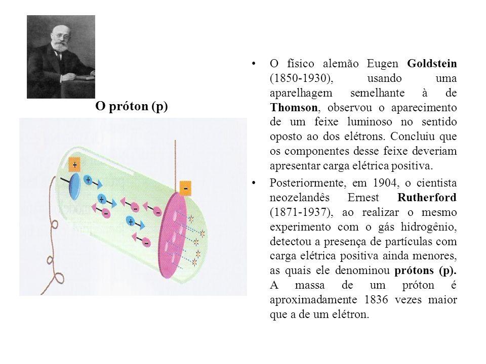 O físico alemão Eugen Goldstein (1850-1930), usando uma aparelhagem semelhante à de Thomson, observou o aparecimento de um feixe luminoso no sentido oposto ao dos elétrons. Concluiu que os componentes desse feixe deveriam apresentar carga elétrica positiva.