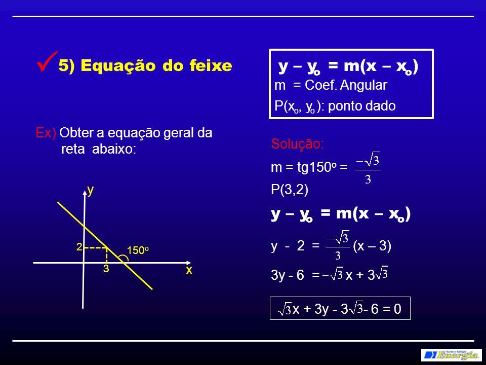  y – y = m(x – x ) 5) Equação do feixe y – y = m(x – x )