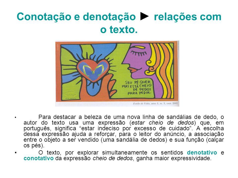 Conotação e denotação ► relações com o texto.