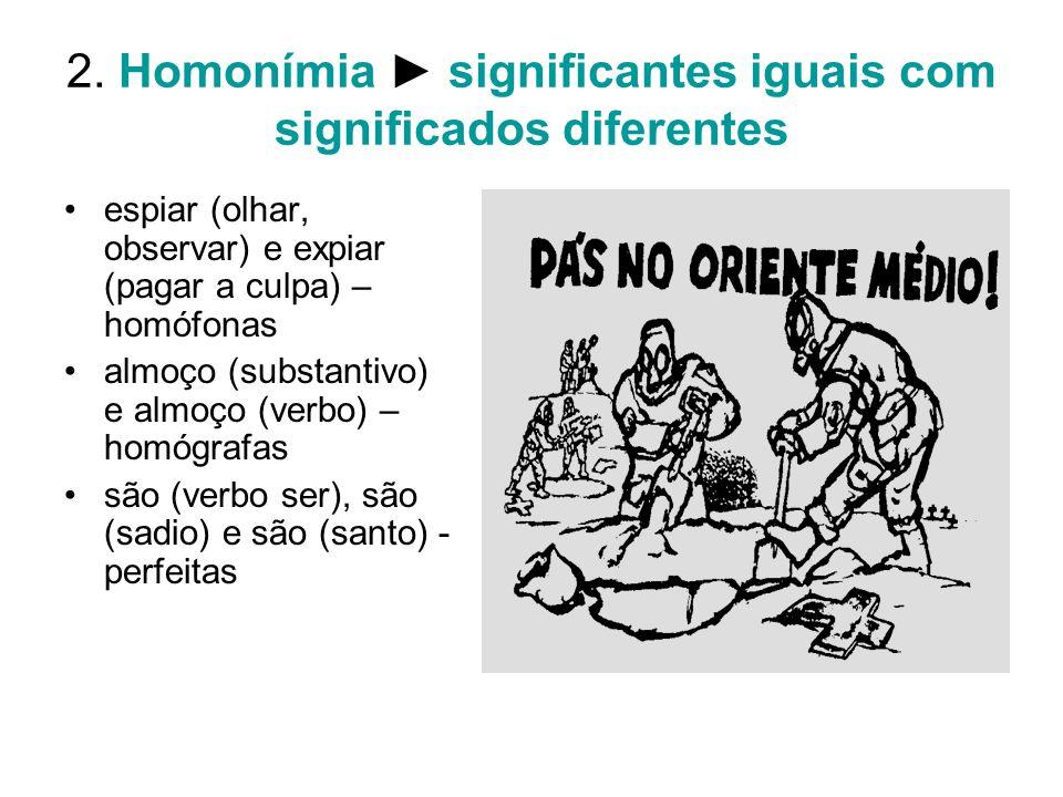 2. Homonímia ► significantes iguais com significados diferentes