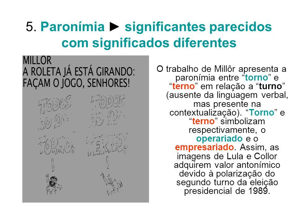 5. Paronímia ► significantes parecidos com significados diferentes