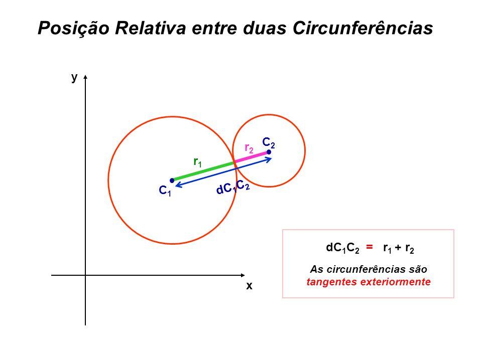 As circunferências são tangentes exteriormente