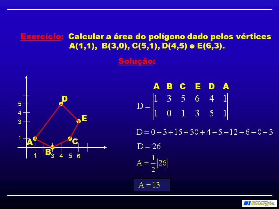 Exercício: Calcular a área do polígono dado pelos vértices