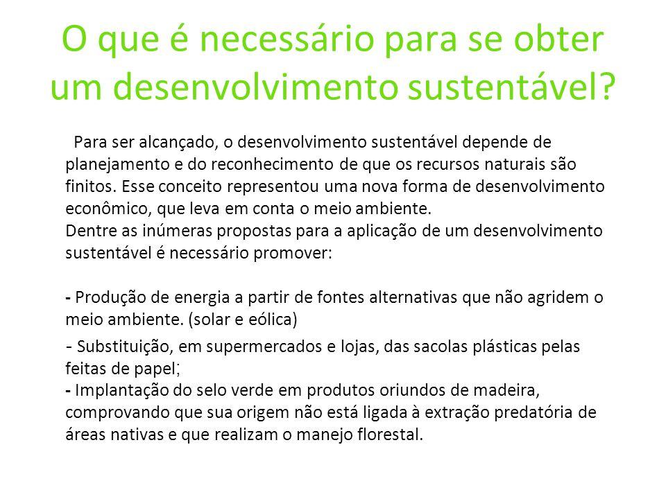 O que é necessário para se obter um desenvolvimento sustentável
