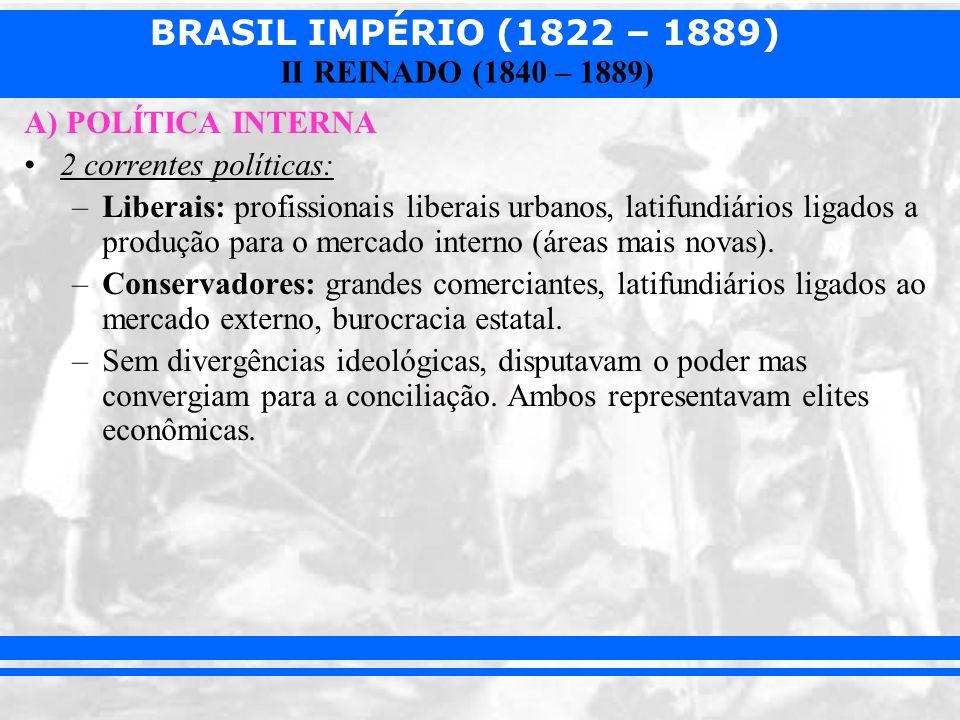 A) POLÍTICA INTERNA 2 correntes políticas: