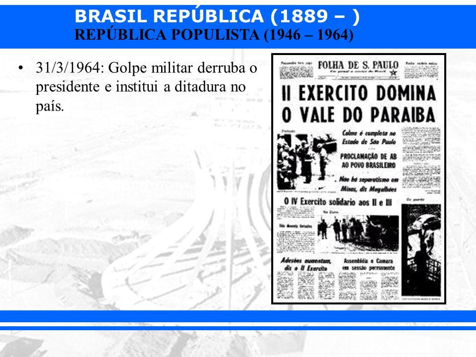 31/3/1964: Golpe militar derruba o presidente e institui a ditadura no país.