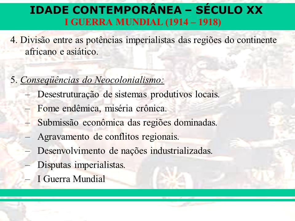 4. Divisão entre as potências imperialistas das regiões do continente africano e asiático.