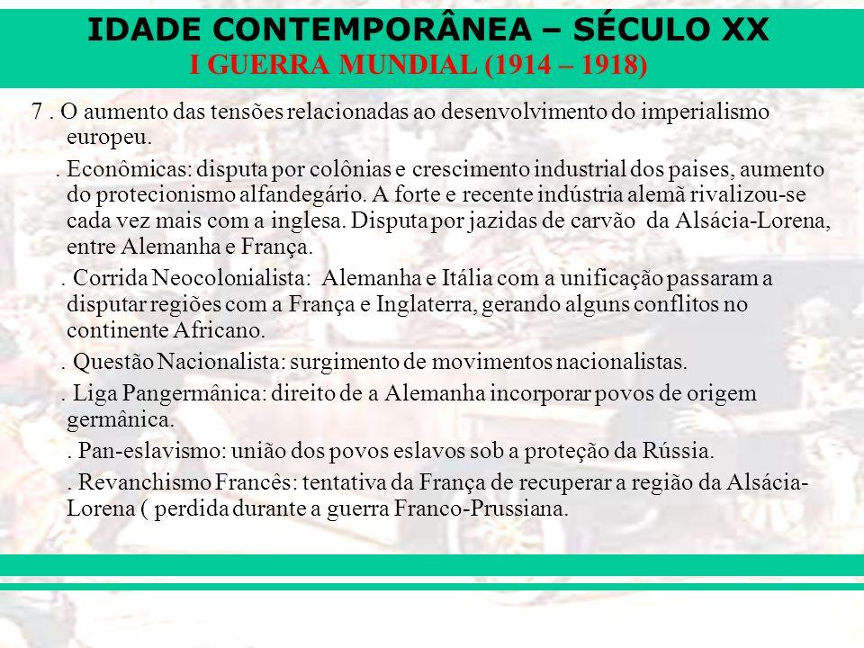 7 . O aumento das tensões relacionadas ao desenvolvimento do imperialismo europeu.