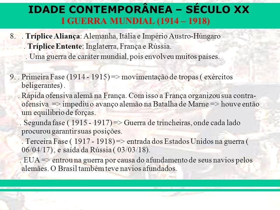 8. . Tríplice Aliança: Alemanha, Itália e Império Austro-Húngaro