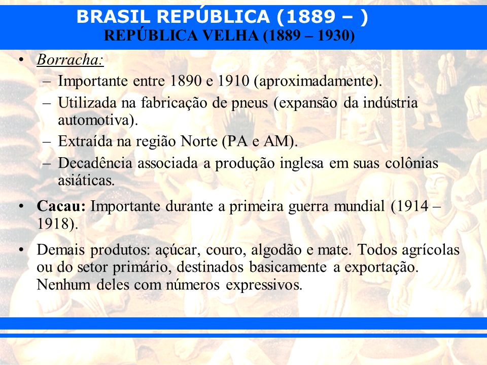 Borracha: Importante entre 1890 e 1910 (aproximadamente). Utilizada na fabricação de pneus (expansão da indústria automotiva).