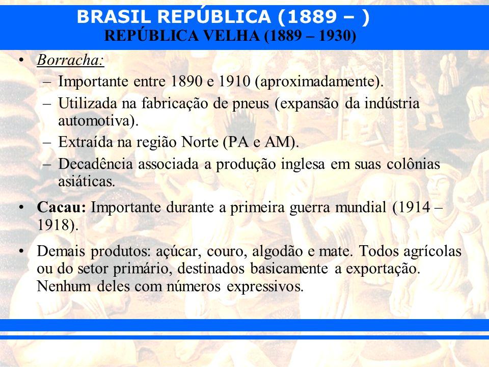 Borracha:Importante entre 1890 e 1910 (aproximadamente). Utilizada na fabricação de pneus (expansão da indústria automotiva).
