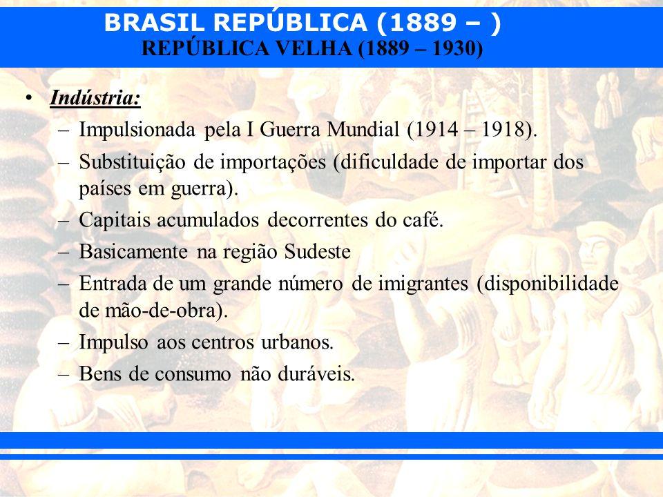 Indústria:Impulsionada pela I Guerra Mundial (1914 – 1918). Substituição de importações (dificuldade de importar dos países em guerra).