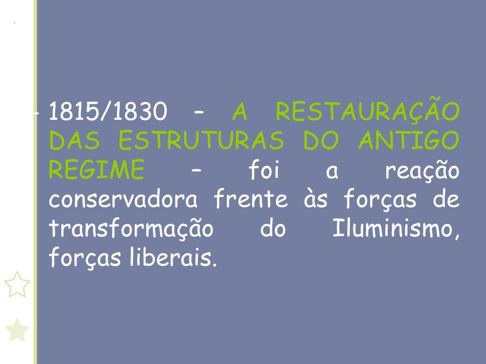 1815/1830 – A RESTAURAÇÃO DAS ESTRUTURAS DO ANTIGO REGIME – foi a reação conservadora frente às forças de transformação do Iluminismo, forças liberais.