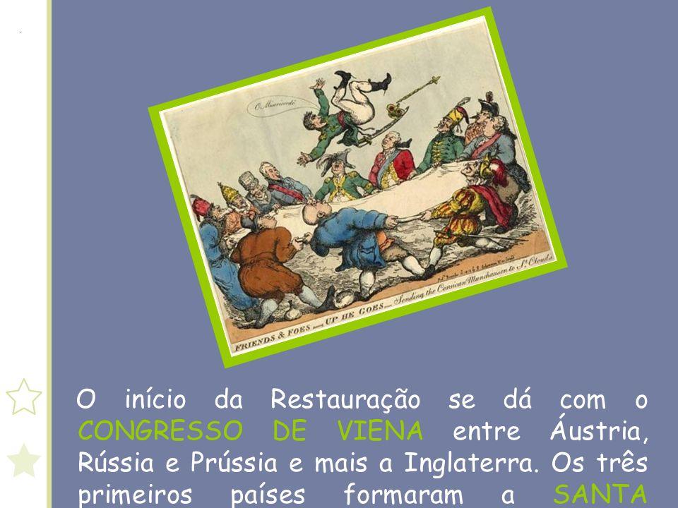 O início da Restauração se dá com o CONGRESSO DE VIENA entre Áustria, Rússia e Prússia e mais a Inglaterra.