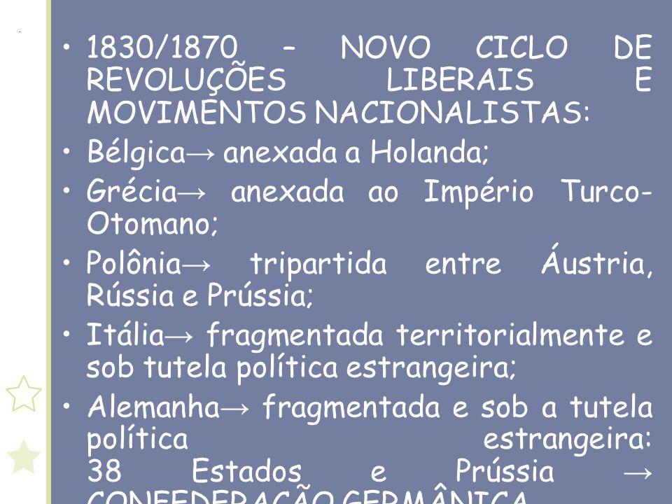 1830/1870 – NOVO CICLO DE REVOLUÇÕES LIBERAIS E MOVIMENTOS NACIONALISTAS: