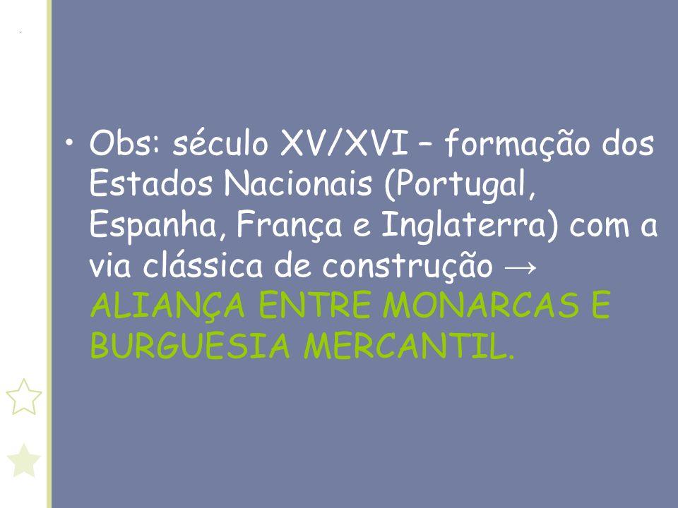 Obs: século XV/XVI – formação dos Estados Nacionais (Portugal, Espanha, França e Inglaterra) com a via clássica de construção → ALIANÇA ENTRE MONARCAS E BURGUESIA MERCANTIL.