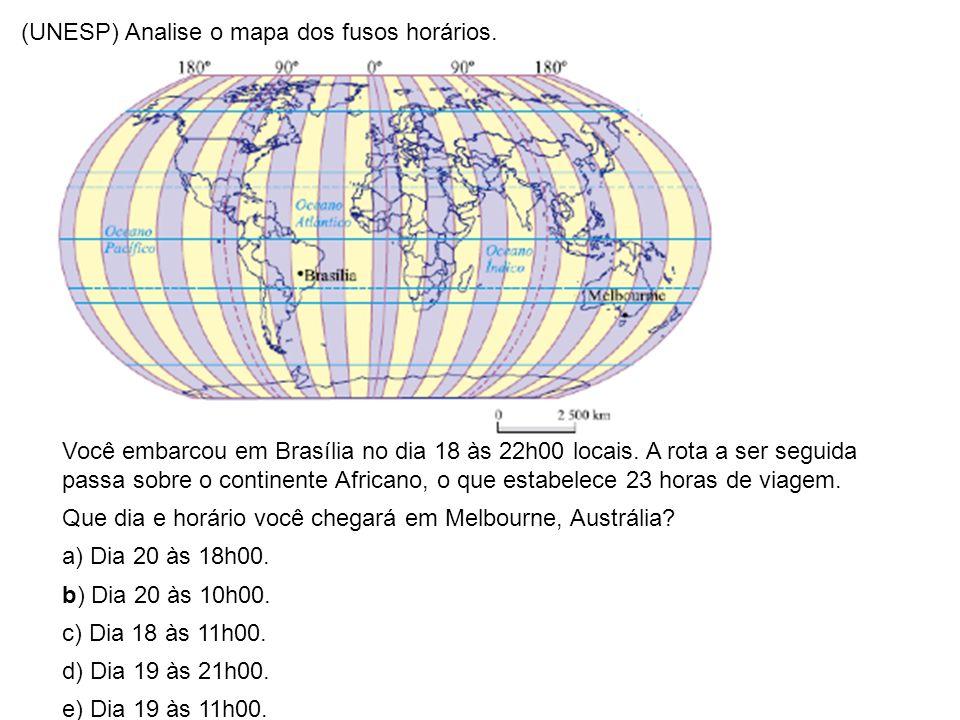 (UNESP) Analise o mapa dos fusos horários.
