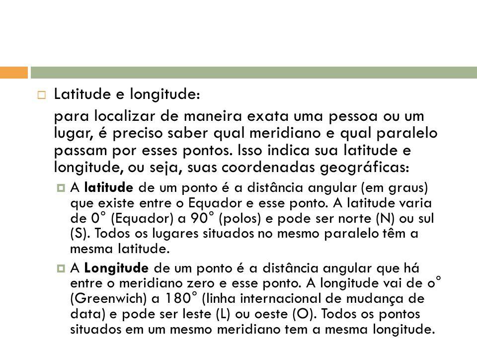 Latitude e longitude: