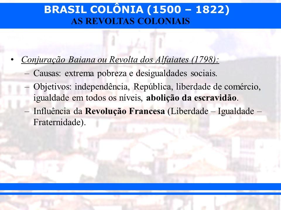Conjuração Baiana ou Revolta dos Alfaiates (1798):