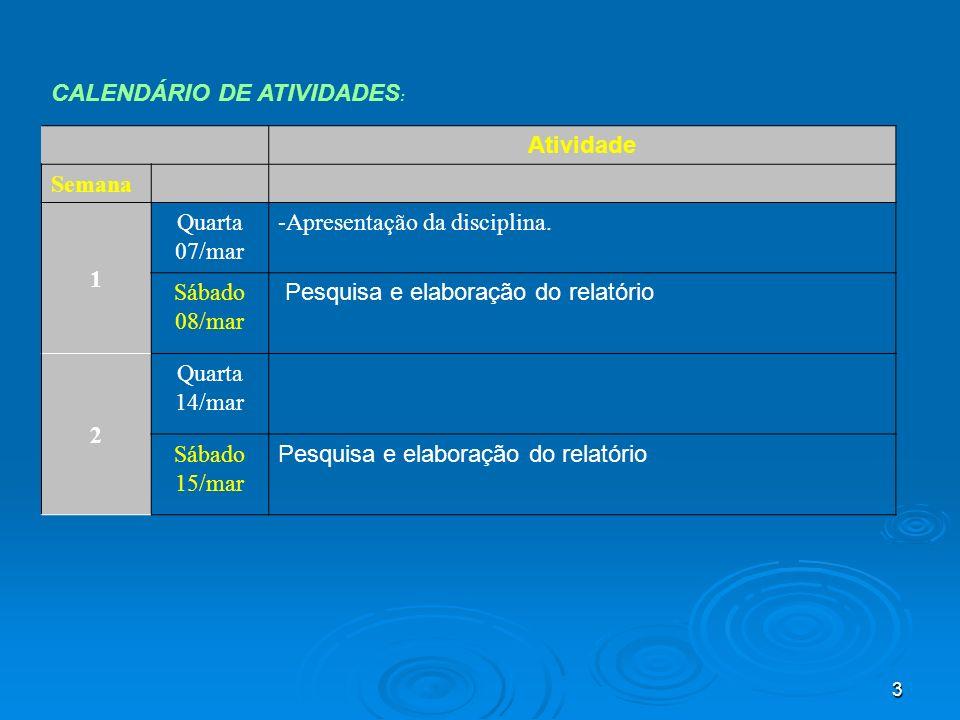 CALENDÁRIO DE ATIVIDADES: